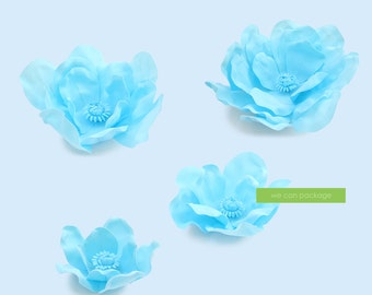 SALE: Baby Blue Magnolia Flowers for Wedding Backdrops  and Flower Wall - Set of 4