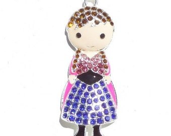 50mm Dark Haired Little Girl Rhinestone Pendant, N4