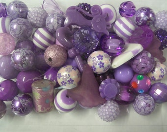 Destash, 18mm plus Beads, Purples, 50 beads or more, not paired, 52A