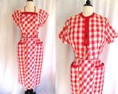 True Vintage 1940s Dress & Bolero Jacket Toni Todd NOS w/ Tags XL Red Gingham Cotton
