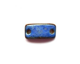 Blue Bracelet Bar Stoneware Clay Handmade Connector