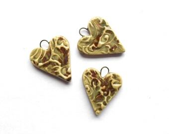 Olive Copper Heart Charm Pendant Handmade Ceramic x 1