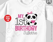 Panda Birthday Shirt Personalized Bodysuit - Monogram First Birthday Shirt or ANY AGE - Panda 1st Birthday Outfit