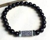 Handmade Natural Black Stone & Tribal Bead Bracelet with Industrial Detail Beads.