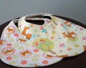 Baby Girl Bibs - Baby Bibs - Foxes - Pink - Green - Gift Set of 2 - Cotton - Organic Bamboo - Baby Shower Gift