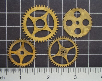 Mixed Lot of 4 Brass Clock Gears, Antique Clock Mechanism Gears, Vintage Clockwork Wheels, Cogs Steampunk Art Supplies 03975