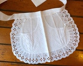 Vintage Apron extra short Broiderie Anglaise German Cafe White cotton lace Downton Abbey, French maid apron, Servant French maid