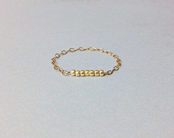 handmade delicate gold filled bead bar stacking chain ring