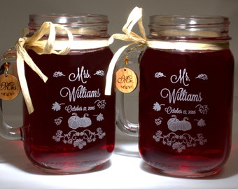 Fall Wedding Mr and Mrs Mason Jars, Pumpkin Wedding Glasses with Handcrafted Wooden Charms