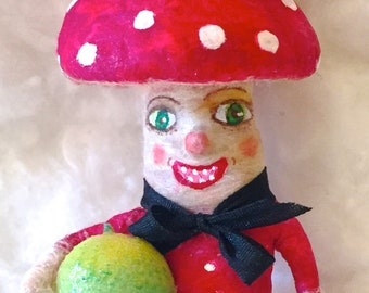 Mushroom man spun cotton anthropomorphic ornament a Vintage craft OOAK by jejeMae