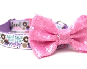 """Dog Collar Bow Add-On Pink Sparkle Bow for Dogs FOR 1.5"""" BUCKLE COLLAR"""