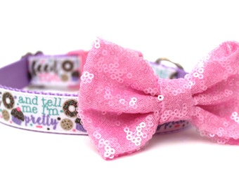 "Dog Collar Bow Add-On Pink Sparkle Bow for Dogs FOR 1"" BUCKLE COLLAR"