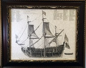 French Admiral's Warship Cutaway View From 1693 Art Print on Parchment Paper