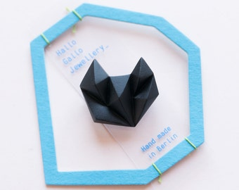Black minimalist geometric triangle brooch