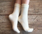 Knit unisex socks, natural wool socks