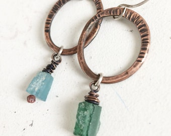 Blue-green Ancient Roman Glass Earrings - Mixed Metals Rustic Oxidized Copper w/ Sterling Silver Jewelry Gifts for Mom