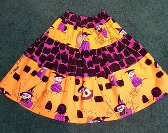 Custom Boutique Halloween layered peasant ruffle skirt 7-8 Resell