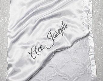 Customizable Minky Blanket, Blessing Blanket, Baptism blanket, baby gift, Christening Blanket, Embroidered Blanket, white blanket, silver