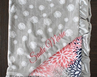 Embroidered Minky Blanket, Custom blanket, personalized baby blanket, baby girl, minky blanket, coral, coral grey silver navy, baby gift