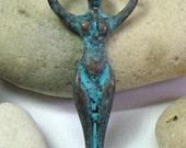 Greek Mykonos, Copper Green, Goddess Pendant