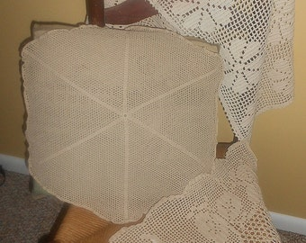 Vintage Crotchet Lace and Embroiderd Home Decor 1960's