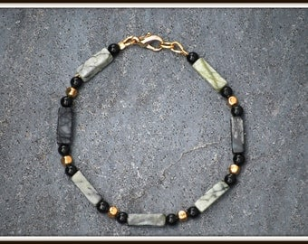Men's Serpentine Bracelet, Black Serpentine Bracelet, Rectangle Stones Bracelet, Dark Stone Bracelet