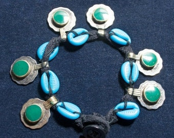 WINTER SALE Vintage Kuchi Anklet Coins Cowries Electric Blue Green Hippie Boho Gypsy Tribal Uber Kuchi®