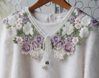 ivory embroidered collar Neckline   beautiful  colored Flowers price for 1 piece