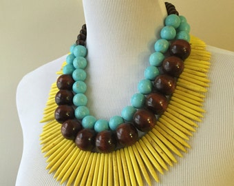 Yellow and Turquoise Triple Strand Statement Necklace - Yellow Turquoise Spike and Wood Statement Necklace - Bianca Collection