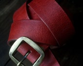 "red BELT 3cm model "" VARINO""  brass buckle and rivets,  maximum waist 97cm"