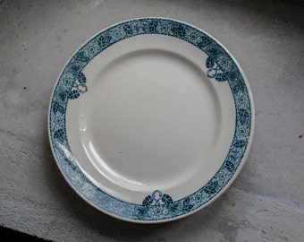 French Antique Transferware Plates // Art Deco Ironstone