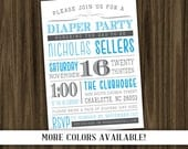 Diaper Party Invitation - Print Your Own - Digital File with Color Options