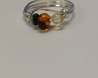3 color Baltic Amber Ring in Sterling Silver