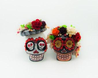 MINI cake topper Skull weddings handmade bride and groom black and white