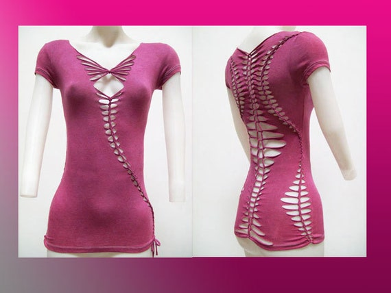 ON SALE!!! Small Junior/Womens Cut up and Weaved Top Wine Color Shredded T Size Small - TS-8017
