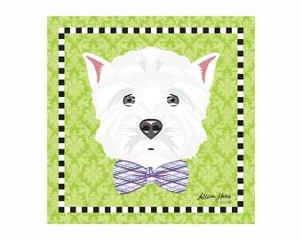 Westie Pet Portrait Art Print Illustration Wrapped Canvas 12x12x.75 Westhighland White Terrier