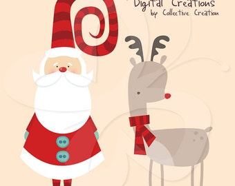 Santa and Rudolph Digital Clipart Clip Art Clipart Set - Commercial and Personal use