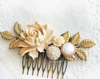 Ivory Flower Affordable Bridal Hair Comb Cream Wedding Elegant Bride Hair Slide Dainty Hair Adornment Chintz Modern Victorian Hair Pin