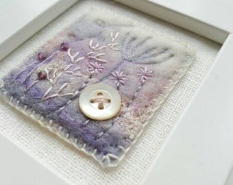 Pastel winter garden fiber art picture- abstract flowers embroidered and needle felted by hand