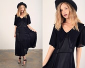 Vintage 40s Rayon Dress Black Collar Swing Dress
