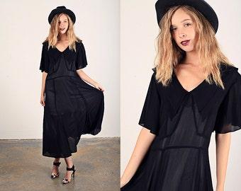 Vintage 40s Rayon Dress Black Collar Swing Dress