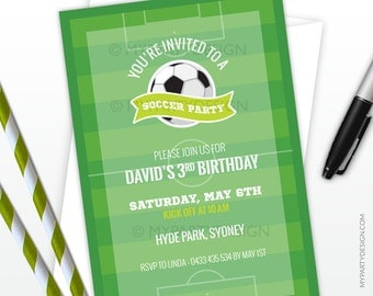 Soccer Party Invitation - Football Party - Sports Party - Soccer Field - PRINTABLE JPEG or PDF file