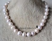 white pearl Necklace,Big pearl Necklace,11-12 mm freshwater pearl Necklace,WEDDING PARTY.Pearl Jewelry,large pearl necklace,select length