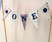 Boy's First Birthday Cake Bunting Topper - Smash Cake Topper - Green, Blue - Buttons - Boy's Vintage Birthday Party