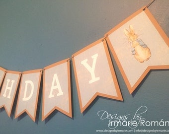 Peter Rabbit Banner, Baby Shower Banner, Birthday Banner, Peter Rabbit, Classic Peter Rabbit