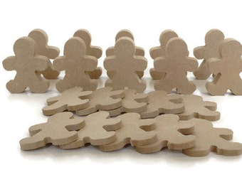 10 x MDF Wooden Gingerbread Men Shapes 6mm 15mm Thick