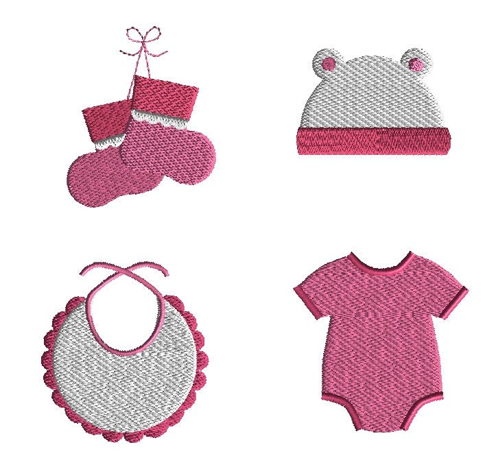 Mini baby clothes machine embroidery design set instant