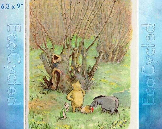 Winnie the Pooh Piglet and Eeyore Birthday Paper Vintage Ephemera Book Page original full page Shepard Illustration bookworm gift