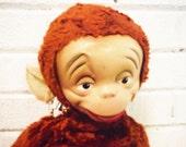Sweet creepy monkey plush retro vintage zipper back doll