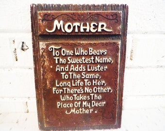 Vintage Mother wall plaque poem mom poem remembrance 1940's brown and white shabby